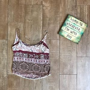 Lucy Love 💗 Maroon Boho Beaded Tasseled Crop Top